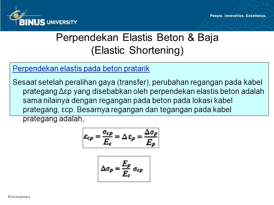 Perpendekan Elastis Beton & Baja (Elastic Shortening)