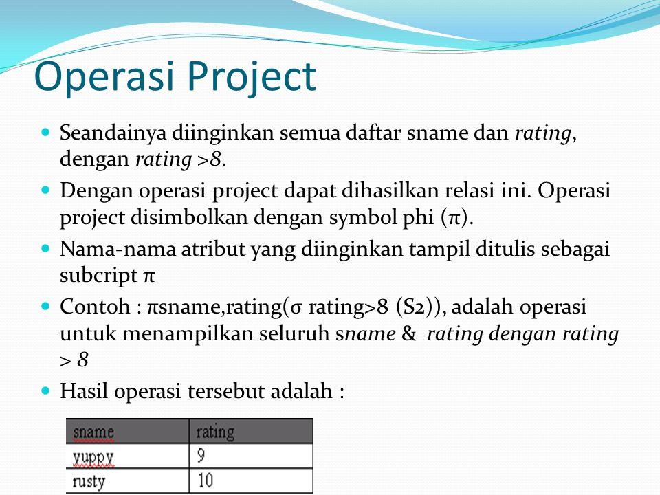 Operasi Project Seandainya diinginkan semua daftar sname dan rating, dengan rating >8.