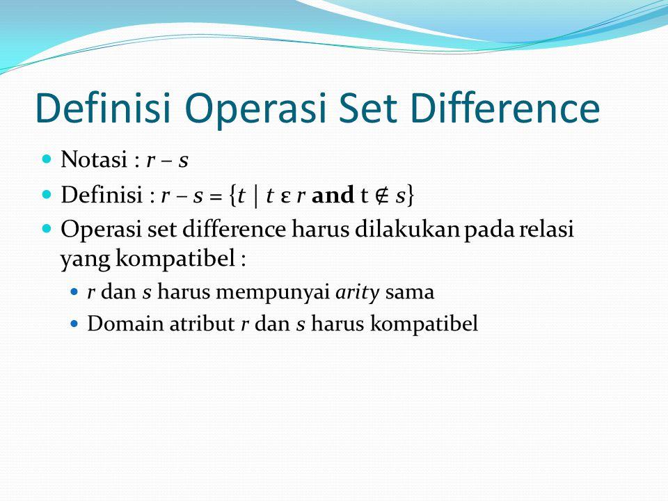 Definisi Operasi Set Difference