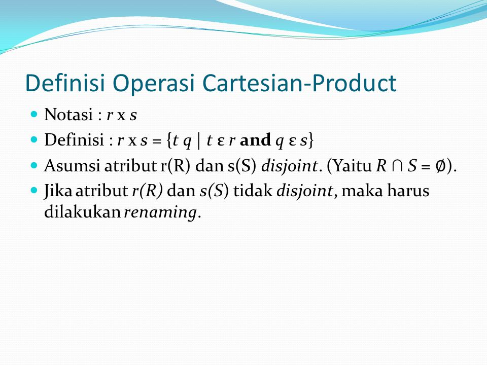 Definisi Operasi Cartesian-Product