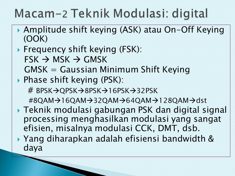 Macam-2 Teknik Modulasi: digital
