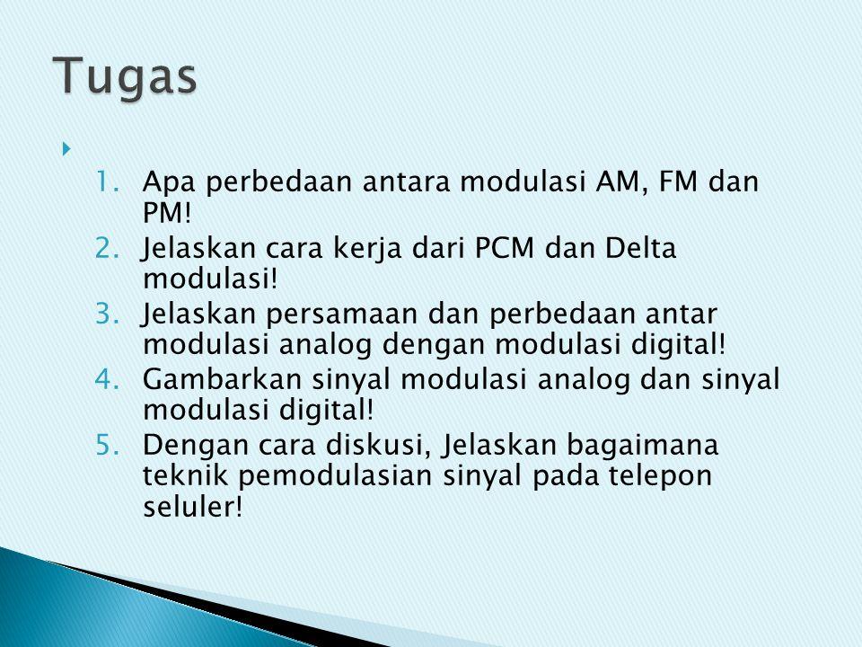Tugas Apa perbedaan antara modulasi AM, FM dan PM!