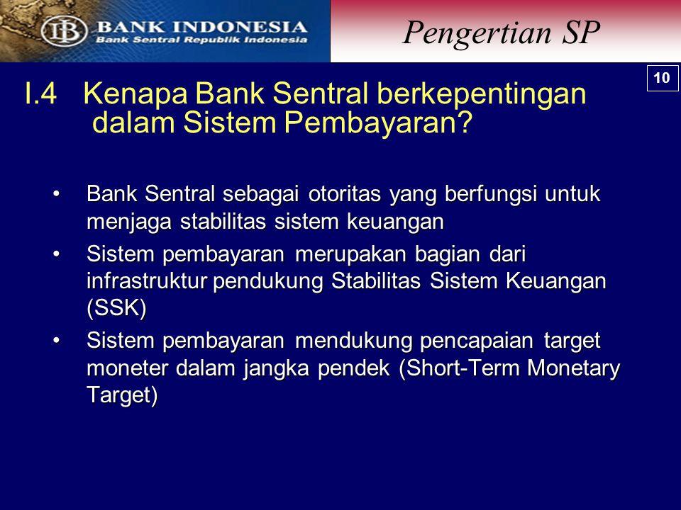 I.4 Kenapa Bank Sentral berkepentingan dalam Sistem Pembayaran