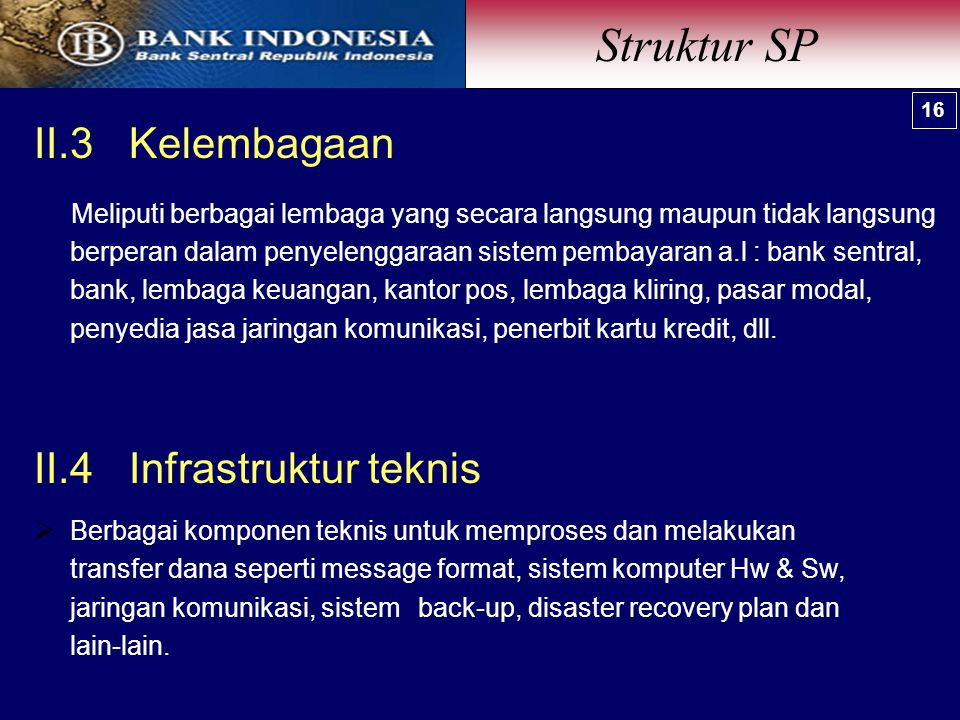Struktur SP II.3 Kelembagaan II.4 Infrastruktur teknis