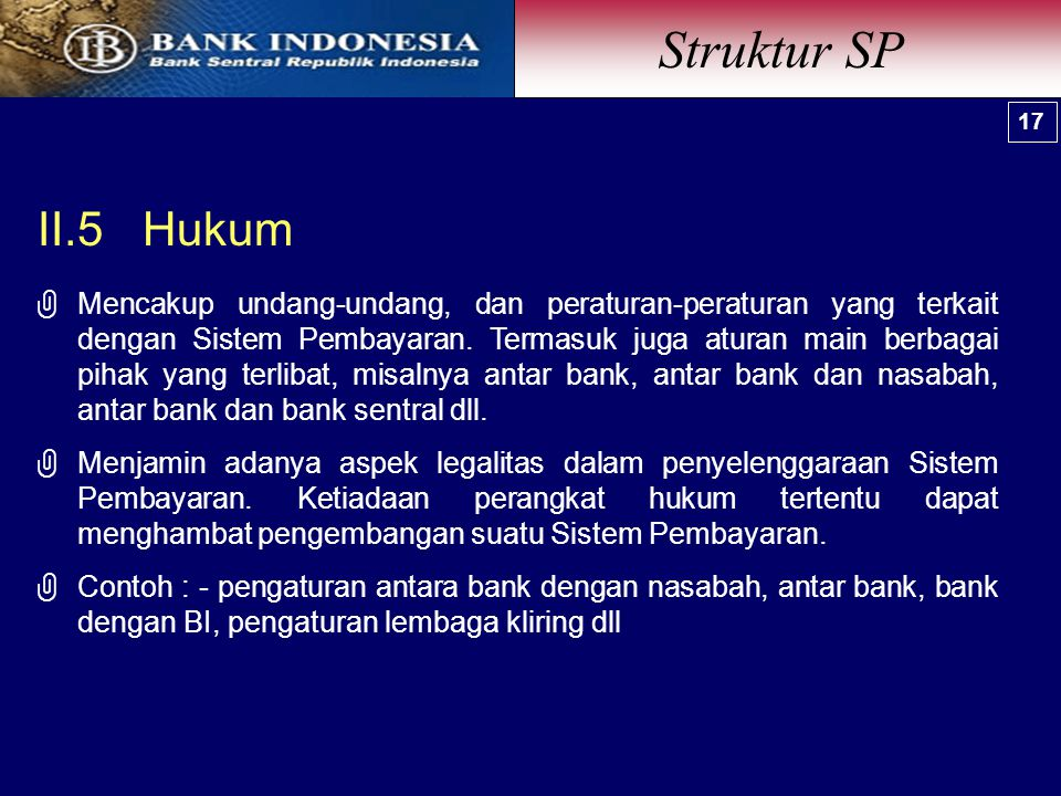 Struktur SP 17. II.5 Hukum.