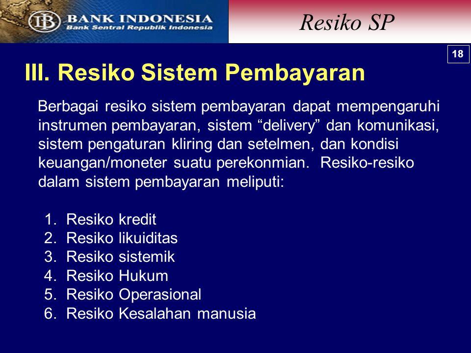 III. Resiko Sistem Pembayaran