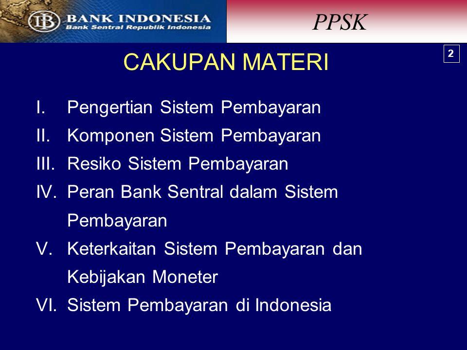 PPSK CAKUPAN MATERI Pengertian Sistem Pembayaran