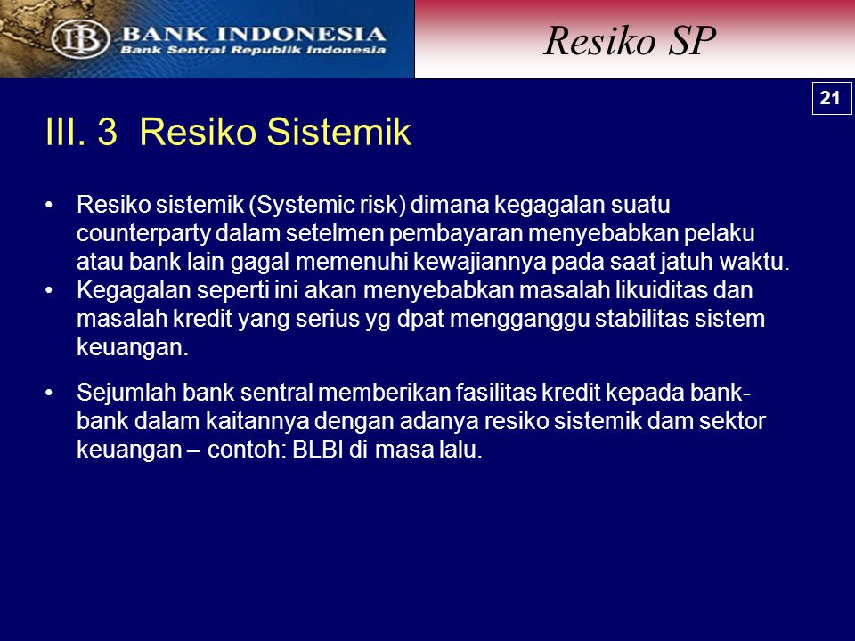 Resiko SP III. 3 Resiko Sistemik