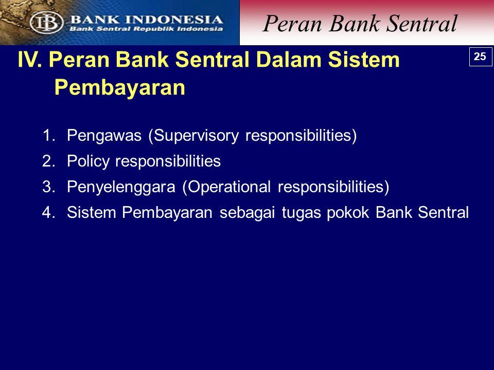 Peran Bank Sentral IV. Peran Bank Sentral Dalam Sistem Pembayaran