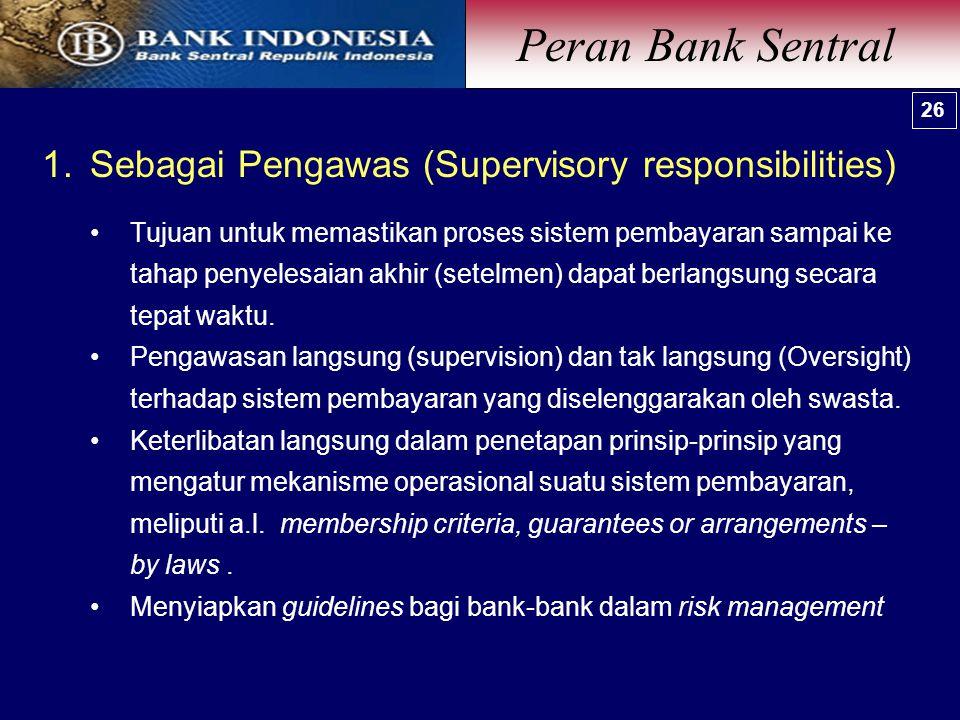 Peran Bank Sentral Sebagai Pengawas (Supervisory responsibilities)
