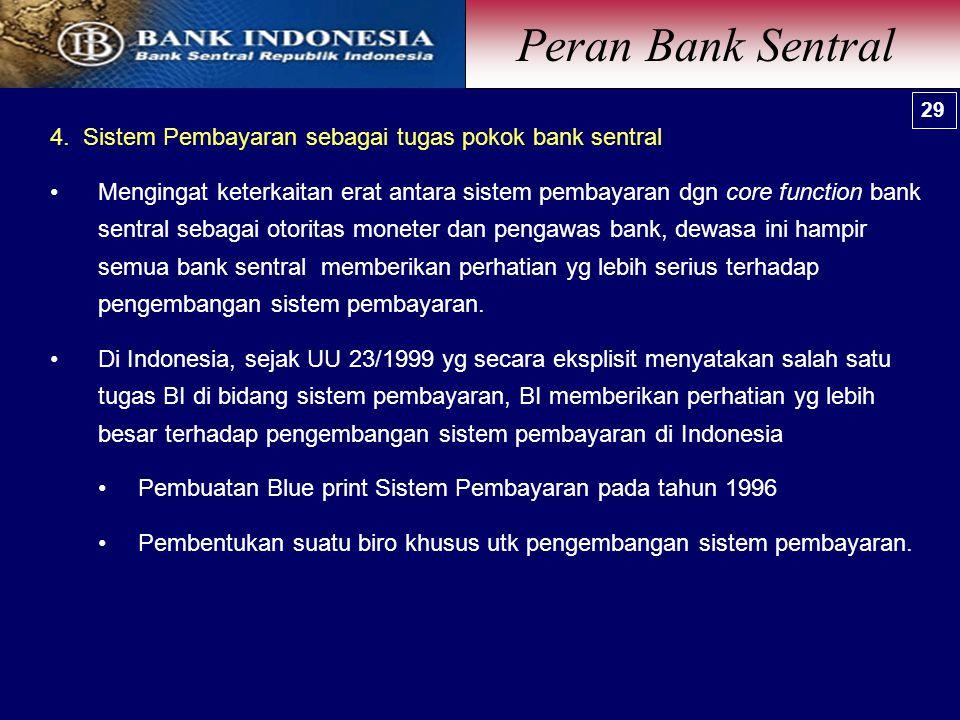 Peran Bank Sentral 29. 4. Sistem Pembayaran sebagai tugas pokok bank sentral.