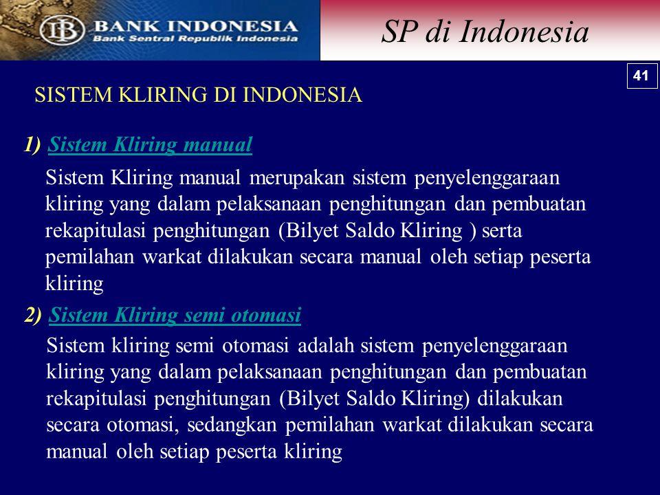 SP di Indonesia SISTEM KLIRING DI INDONESIA Sistem Kliring manual