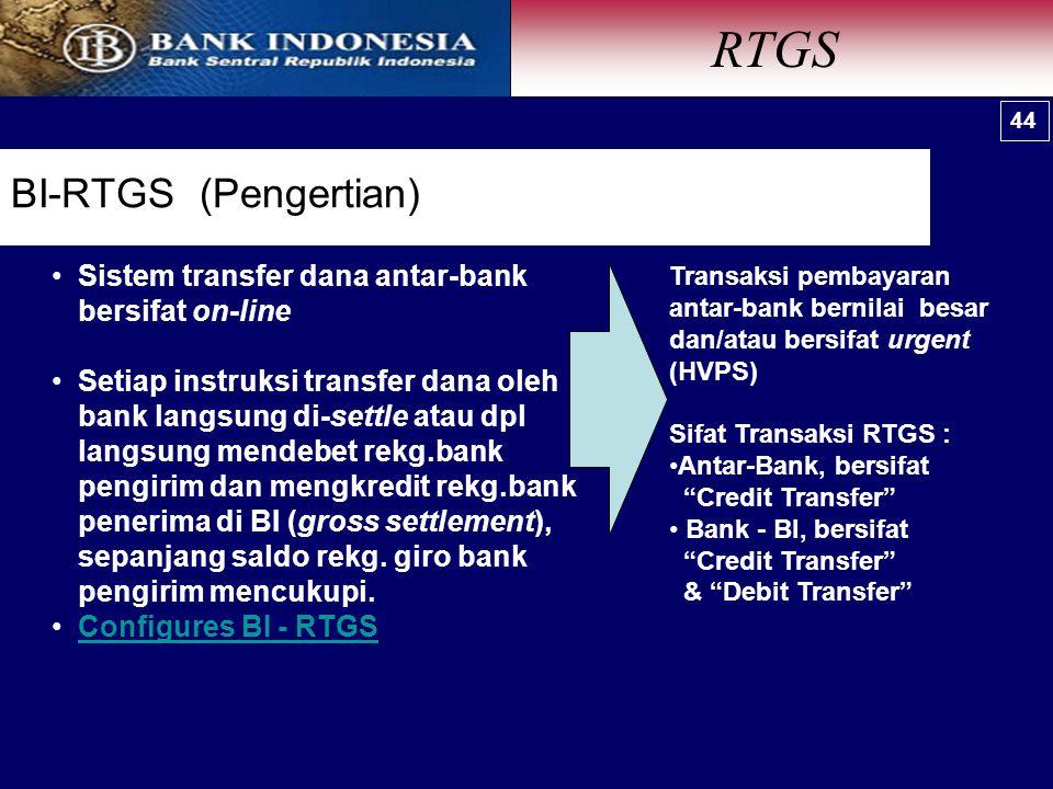RTGS Sistem Pembayaran Nilai Besar (high value) BI-RTGS (Pengertian)