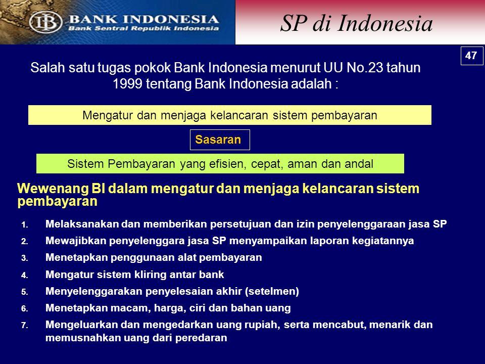 SP di Indonesia 47. 47. Salah satu tugas pokok Bank Indonesia menurut UU No.23 tahun 1999 tentang Bank Indonesia adalah :