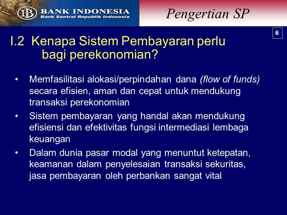 I.2 Kenapa Sistem Pembayaran perlu bagi perekonomian