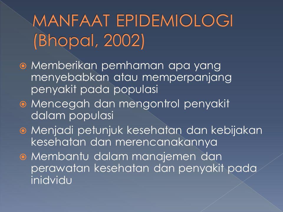 MANFAAT EPIDEMIOLOGI (Bhopal, 2002)