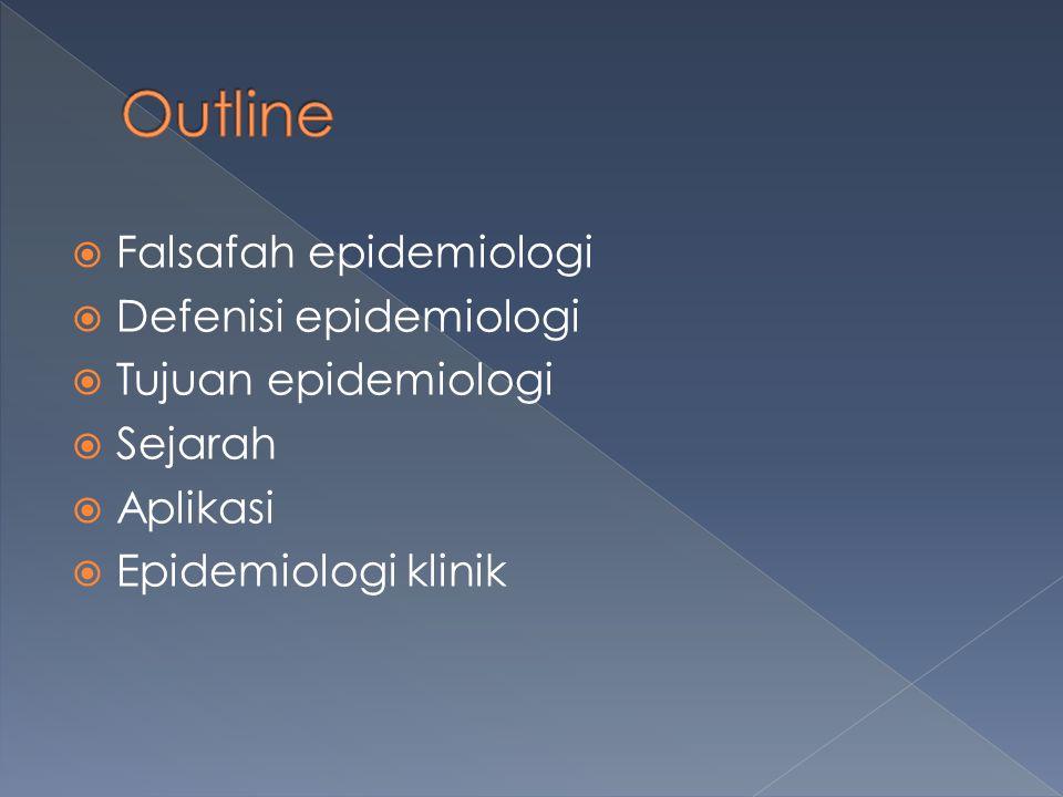 Outline Falsafah epidemiologi Defenisi epidemiologi