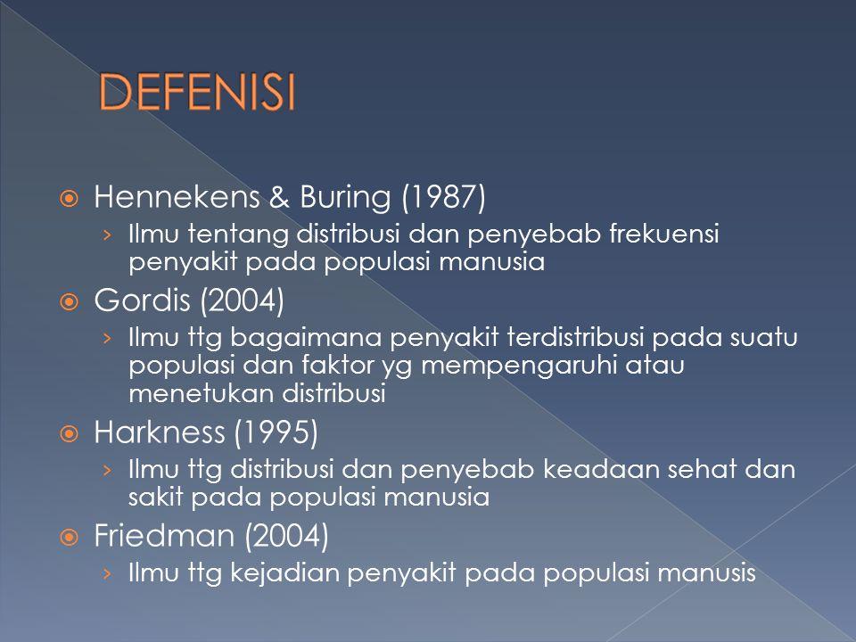 DEFENISI Hennekens & Buring (1987) Gordis (2004) Harkness (1995)