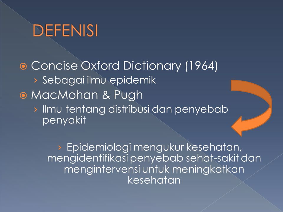 DEFENISI Concise Oxford Dictionary (1964) MacMohan & Pugh