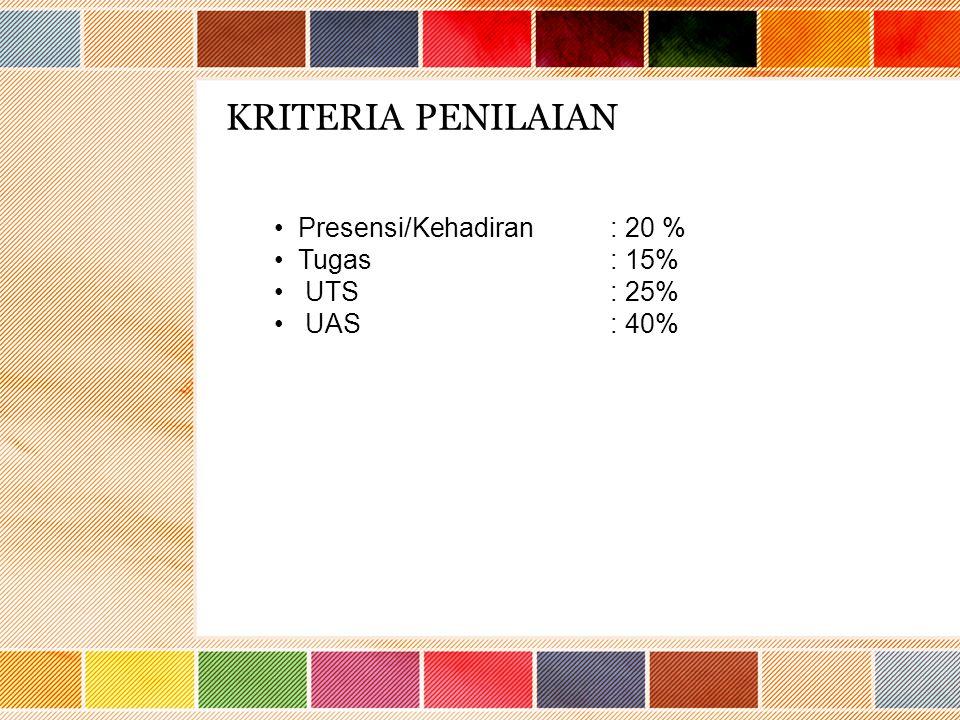 KRITERIA PENILAIAN Presensi/Kehadiran : 20 % Tugas : 15% UTS : 25%