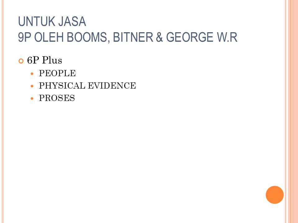 UNTUK JASA 9P OLEH BOOMS, BITNER & GEORGE W.R