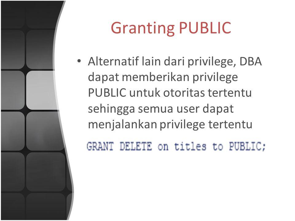 Granting PUBLIC