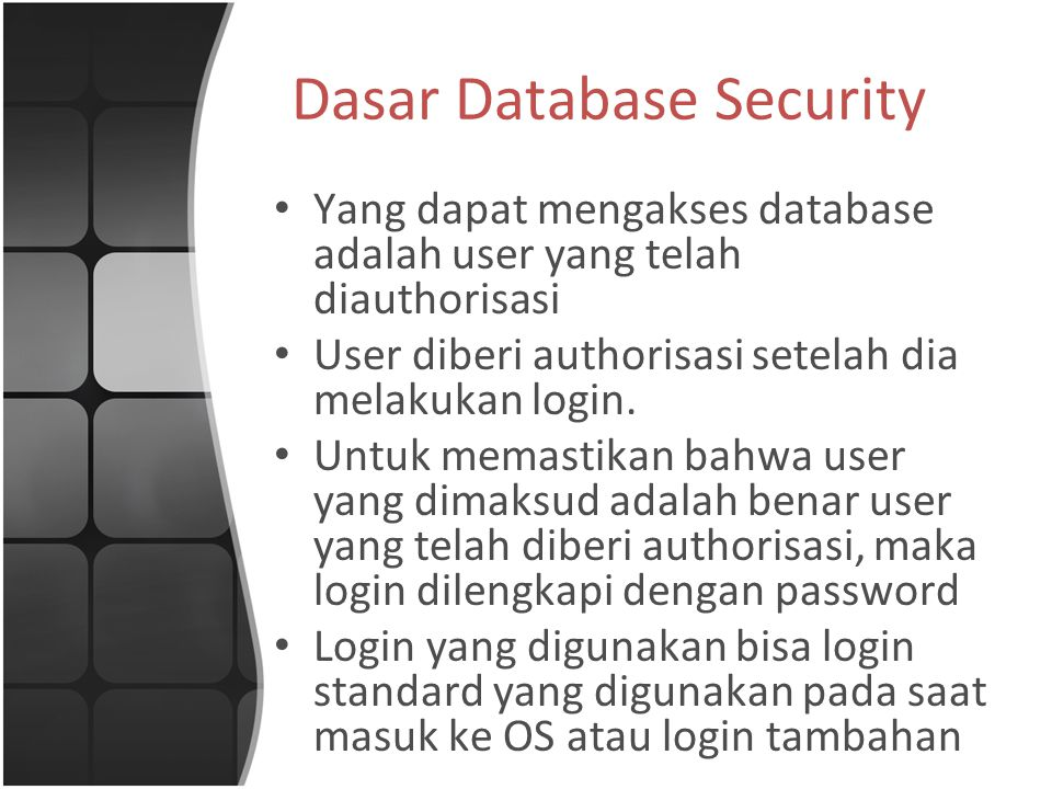 Dasar Database Security