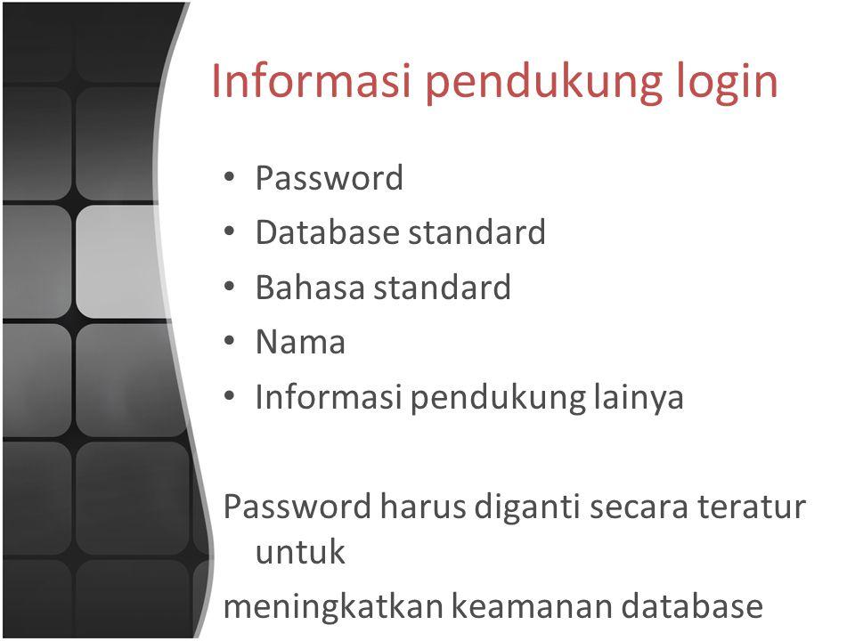 Informasi pendukung login