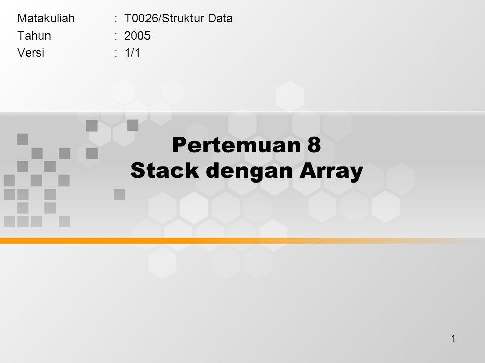 Pertemuan 8 Stack dengan Array