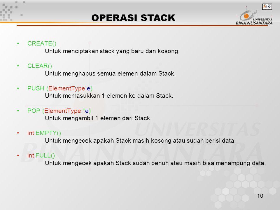 OPERASI STACK CREATE() Untuk menciptakan stack yang baru dan kosong.