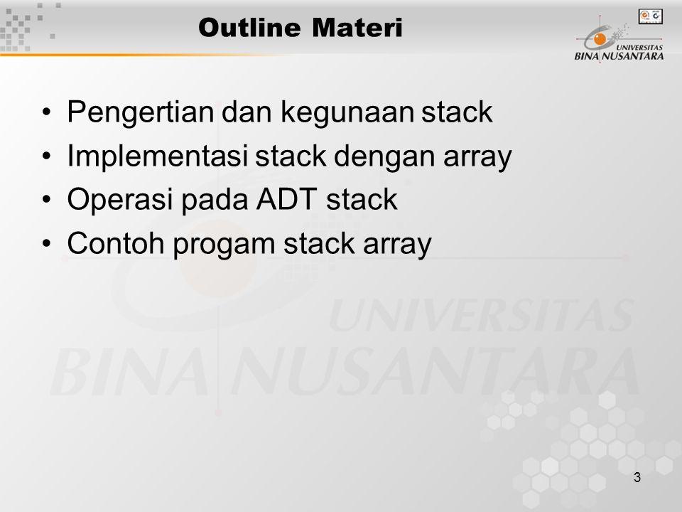 Pengertian dan kegunaan stack Implementasi stack dengan array
