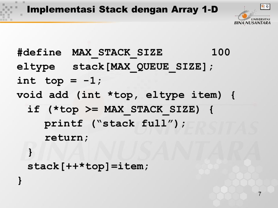 Implementasi Stack dengan Array 1-D