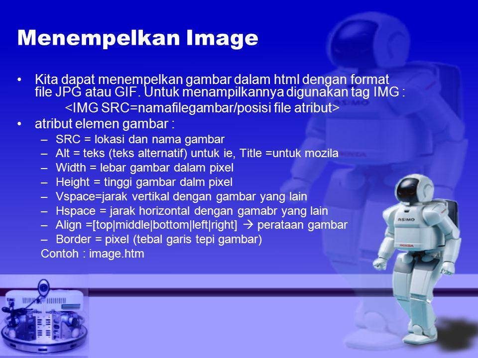 Menempelkan Image Kita dapat menempelkan gambar dalam html dengan format file JPG atau GIF. Untuk menampilkannya digunakan tag IMG :