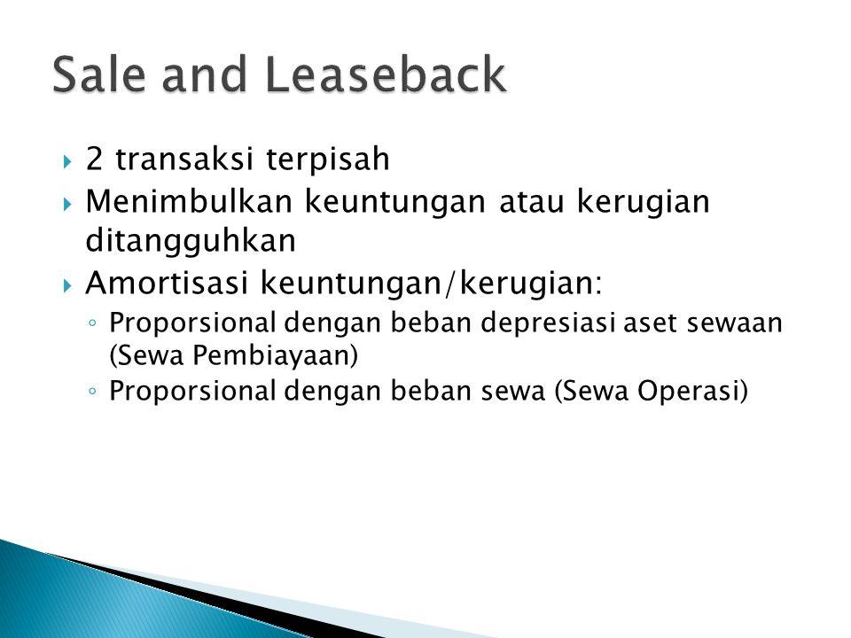 Sale and Leaseback 2 transaksi terpisah