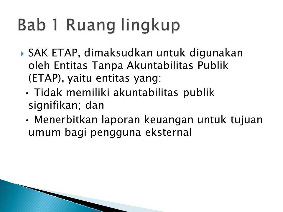 Bab 1 Ruang lingkup SAK ETAP, dimaksudkan untuk digunakan oleh Entitas Tanpa Akuntabilitas Publik (ETAP), yaitu entitas yang: