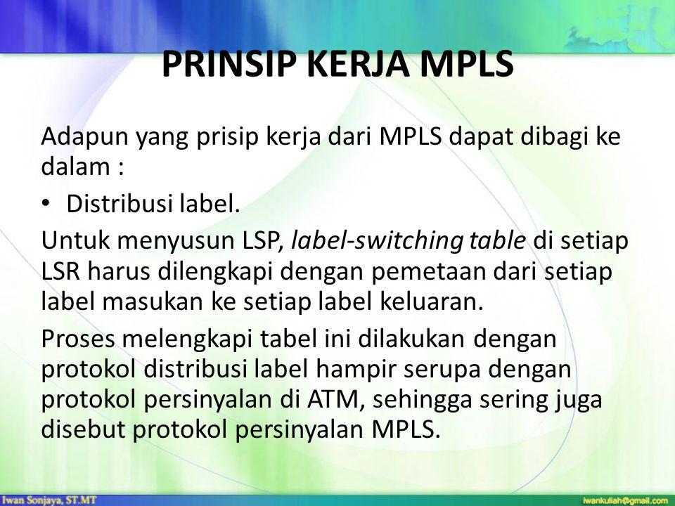 Prinsip Kerja MPLS Adapun yang prisip kerja dari MPLS dapat dibagi ke dalam : Distribusi label.