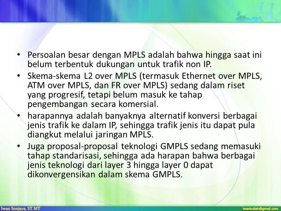 Persoalan besar dengan MPLS adalah bahwa hingga saat ini belum terbentuk dukungan untuk trafik non IP.