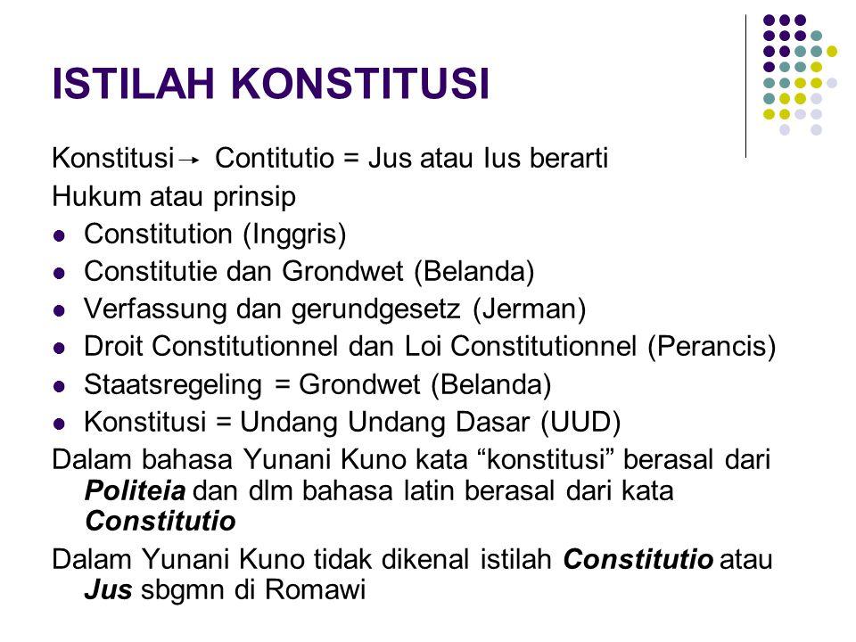 ISTILAH KONSTITUSI Konstitusi Contitutio = Jus atau Ius berarti
