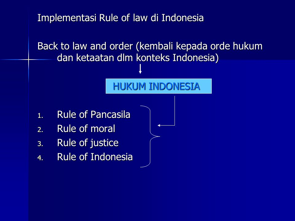 Implementasi Rule of law di Indonesia