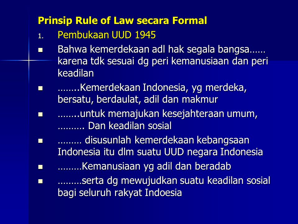 Prinsip Rule of Law secara Formal