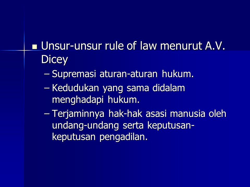 Unsur-unsur rule of law menurut A.V. Dicey
