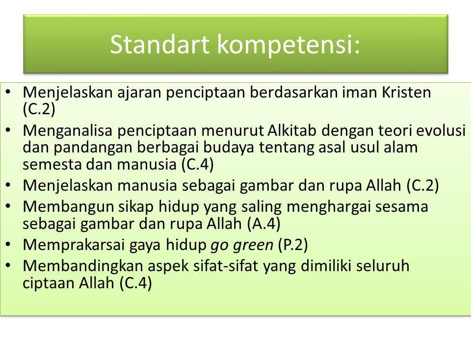 Standart kompetensi: Menjelaskan ajaran penciptaan berdasarkan iman Kristen (C.2)