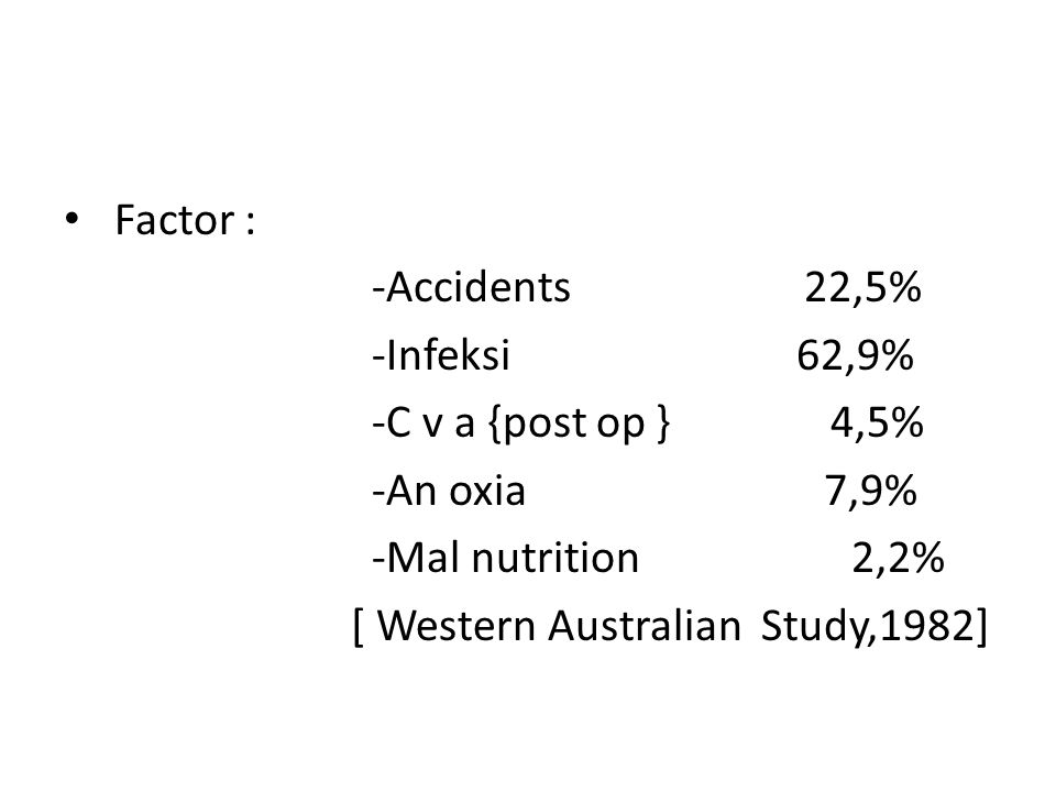 Factor : -Accidents 22,5% -Infeksi 62,9% -C v a {post op } 4,5%