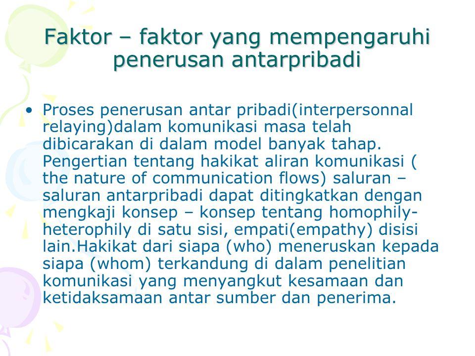 Faktor – faktor yang mempengaruhi penerusan antarpribadi