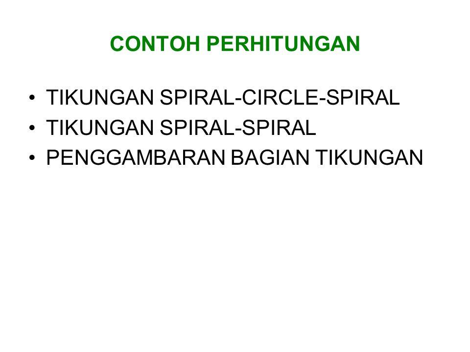 CONTOH PERHITUNGAN TIKUNGAN SPIRAL-CIRCLE-SPIRAL. TIKUNGAN SPIRAL-SPIRAL.