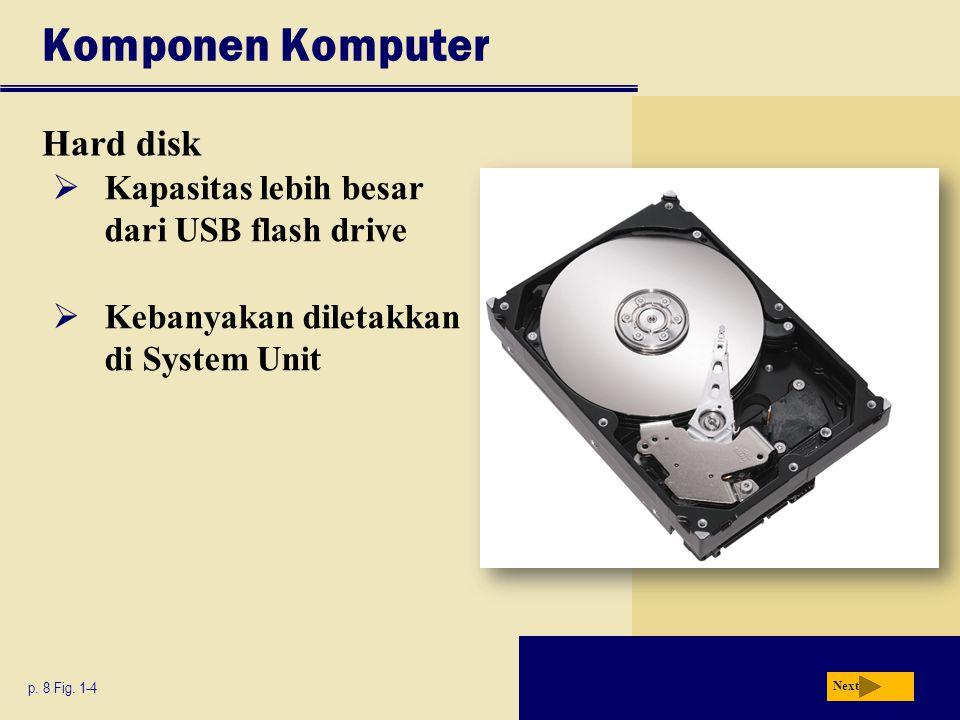Komponen Komputer Hard disk Kapasitas lebih besar dari USB flash drive