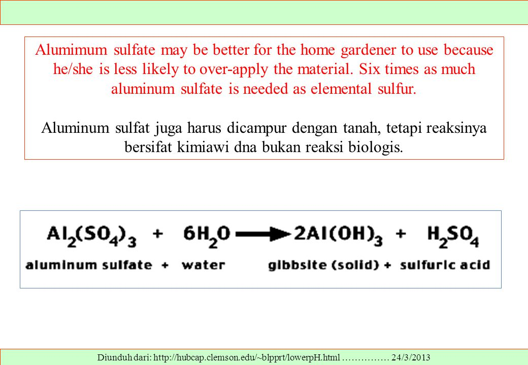 Alumimum sulfate may be better for the home gardener to use because he/she is less likely to over-apply the material. Six times as much aluminum sulfate is needed as elemental sulfur.