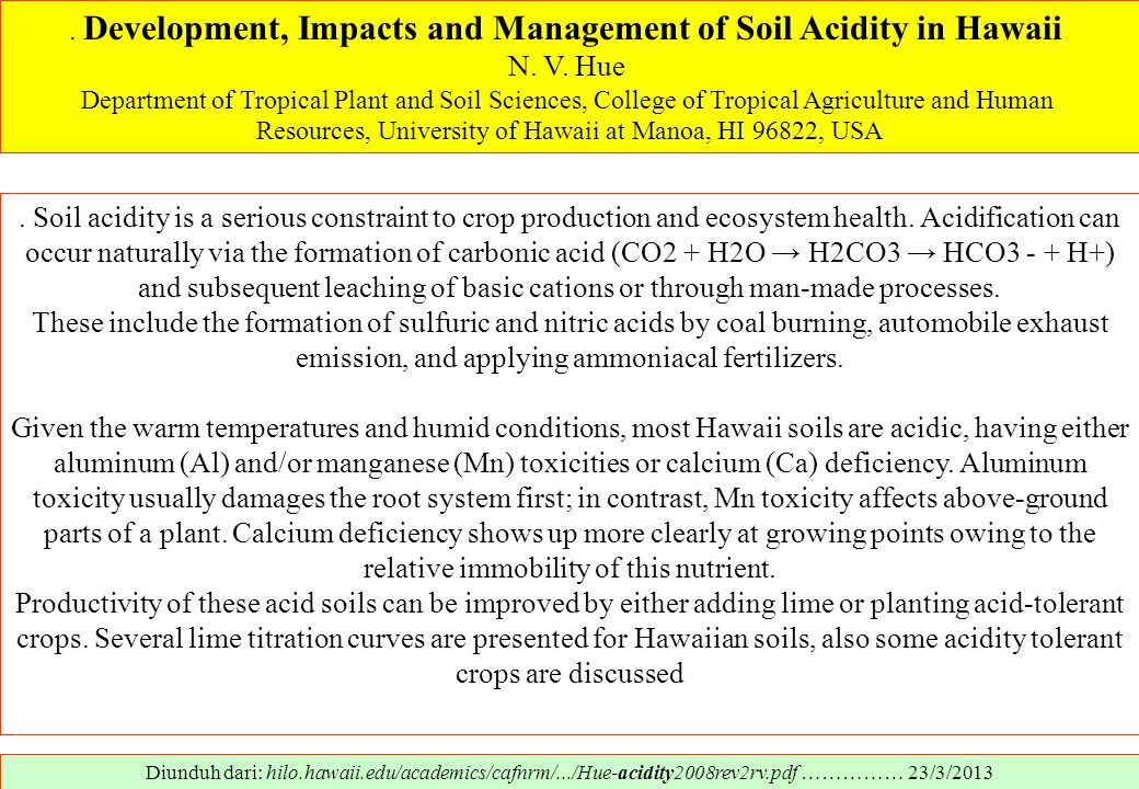 . Development, Impacts and Management of Soil Acidity in Hawaii
