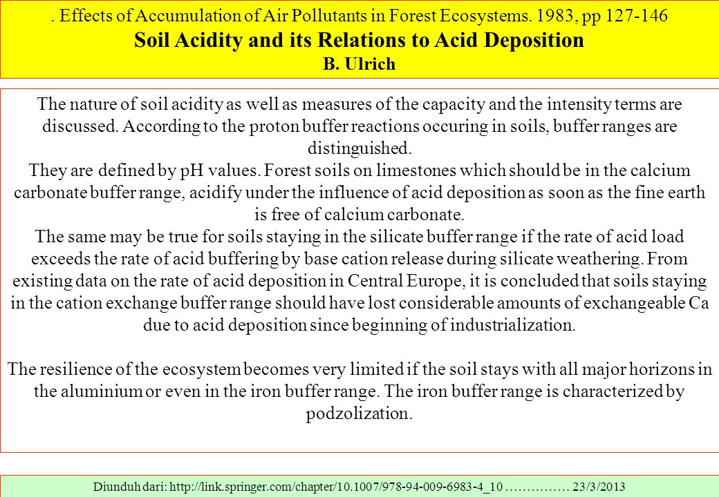 Soil Acidity and its Relations to Acid Deposition