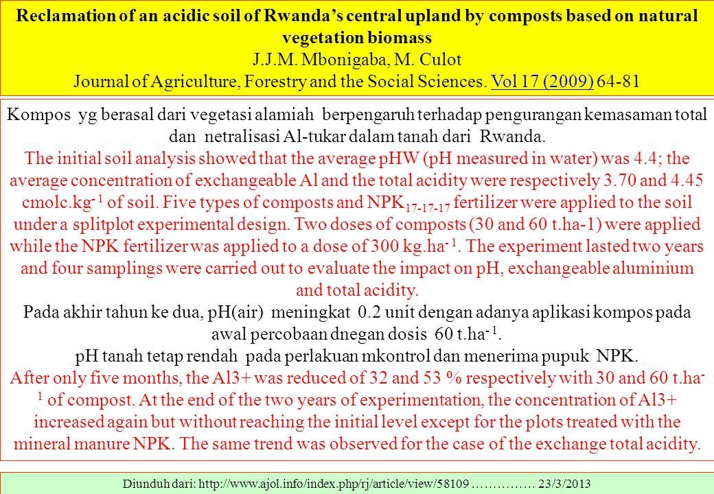 pH tanah tetap rendah pada perlakuan mkontrol dan menerima pupuk NPK.